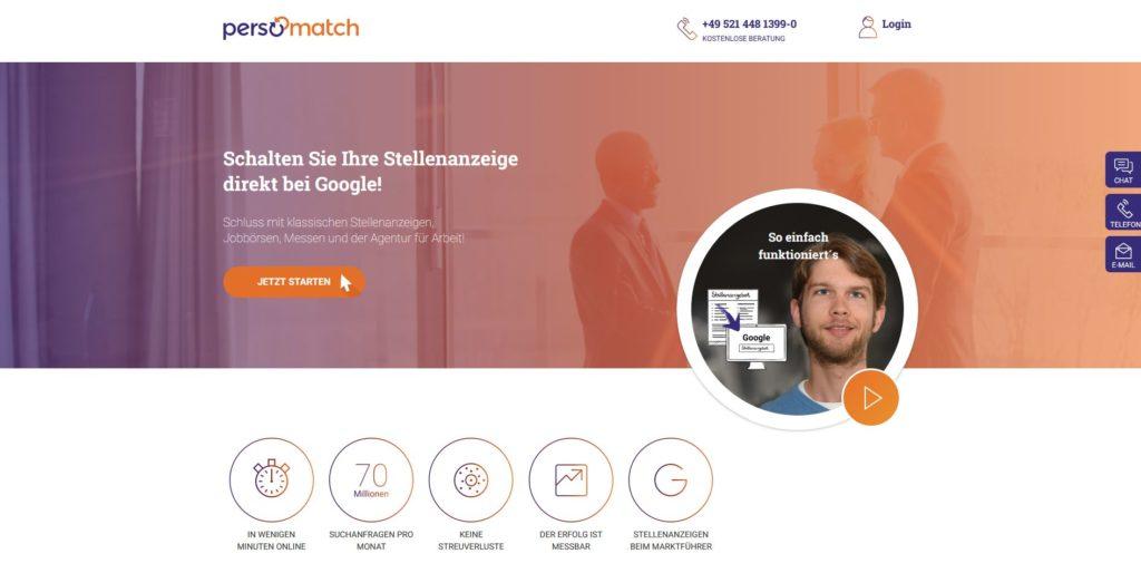 Persomatch – schaltet Stellenanzeigen direkt auf Google