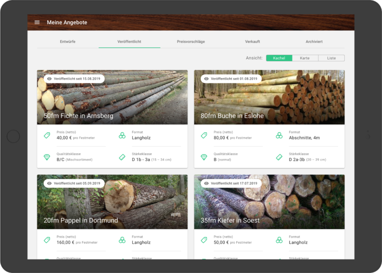 Forstify – der Online Marktplatz für den Rohholz-Handel